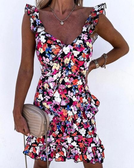 Floral Print Ruffle Hem Sleeveless Tie Front Dress