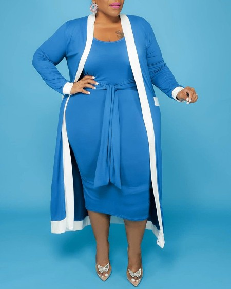 Plus Size Tie Front Casual Dress & Striped Print Longline Cardigan Set