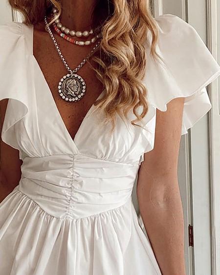Flutter Sleeve V Neck Ruched Casual Dress
