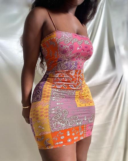 Paisley Print Spaghetti Strap Bodycon Dress