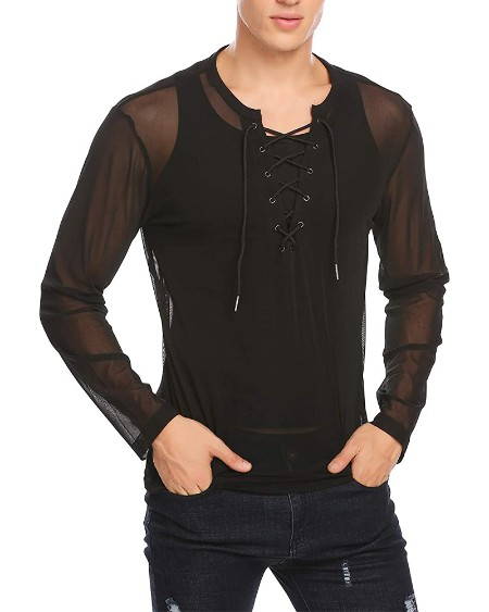 See-through Lace-up Solid Color Long Sleeve Blouse