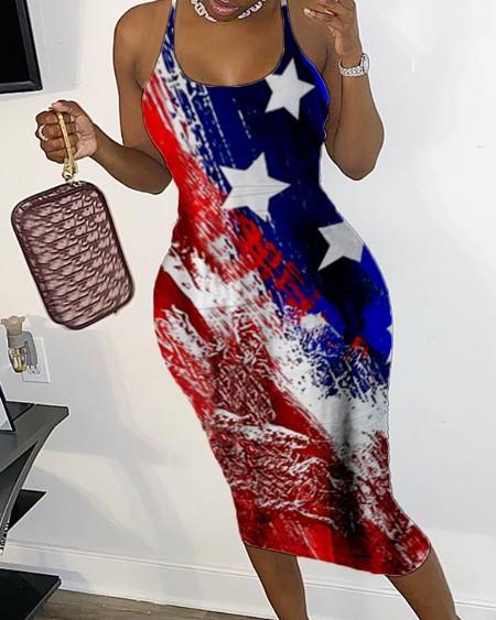 Star Print U-Neck Sleeveless Open Back Bodycon Dress