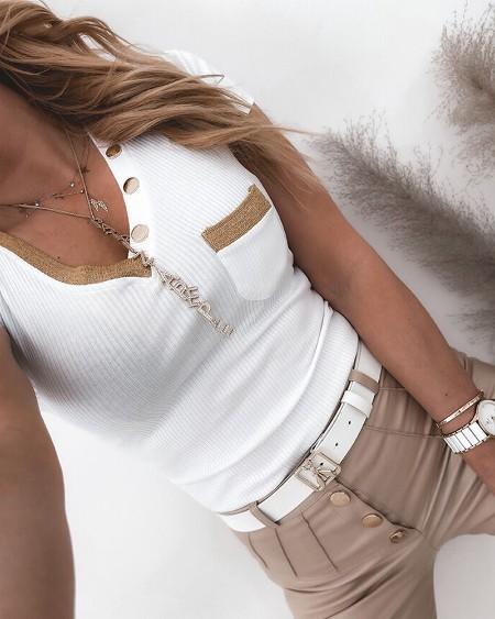Pocket Design Contrast Binding Short Sleeve T-Shirt