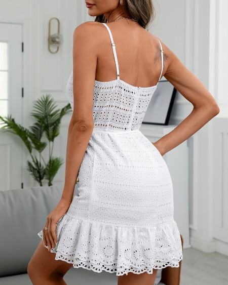 Spaghetti Strap Eyelet Embroidery Ruffles Hem Dress