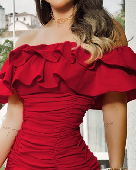 Off Shoulder Ruched Ruffles Bodycon Dress