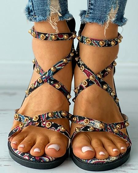 Rivet Decor Paisley Print Ankle Strap Flat Sandals