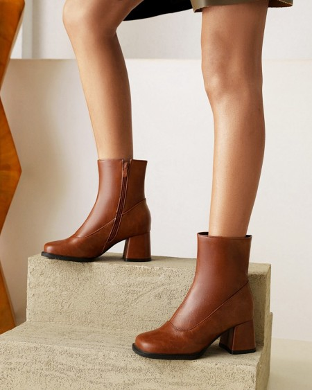 Womens Vintage Square Toe High Chunky Heel Booties