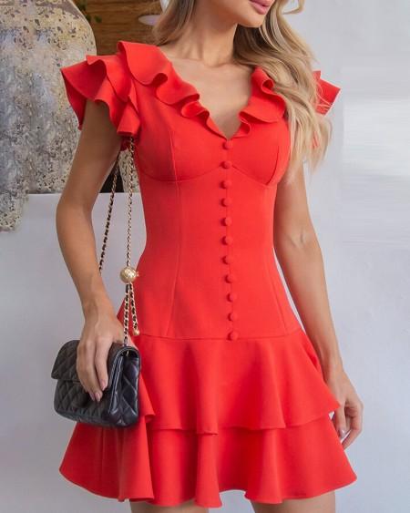 Layered Ruffles Sleeve Button Decor Dress
