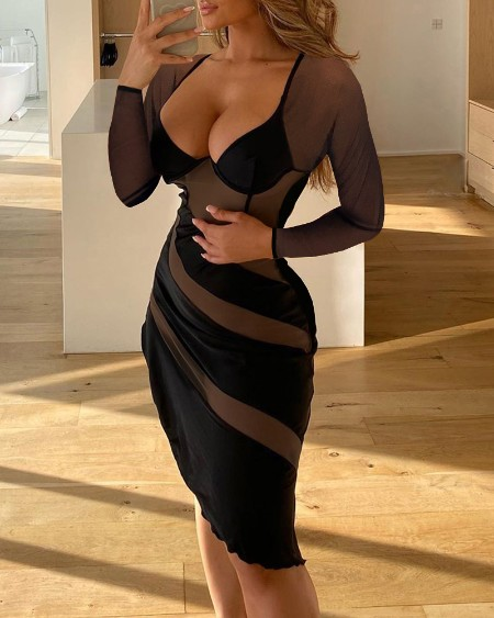 Plunge Long Sleeve Sheer Mesh Party Dress