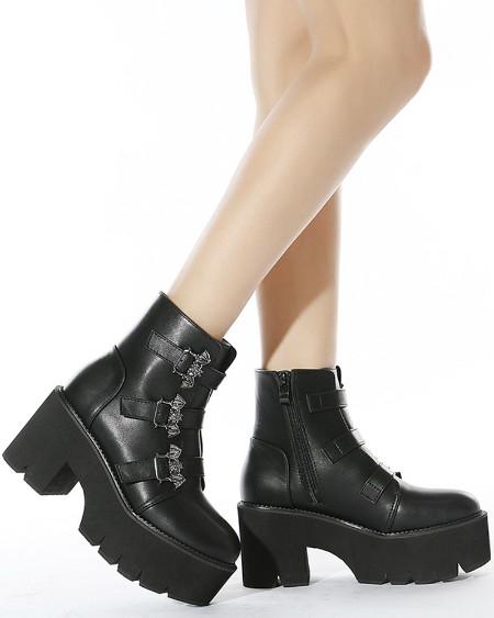 Womens Straps Decor Round Toe Wax Finish Platform Motorcycle Boots