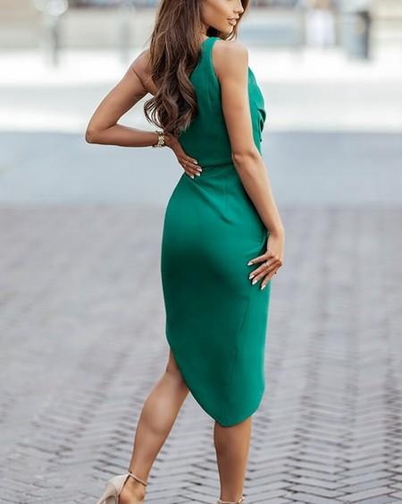 Solid One Shoulder Split Dress Sleeveless Slim Midi Dress Cocktail Dresses Party Dress