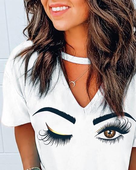 Eyes Print Cutout Front Casual T-shirt