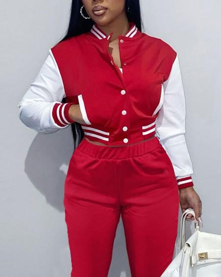 Colorblock Button Front Bomber Jacket & Striped Trim Pants Set