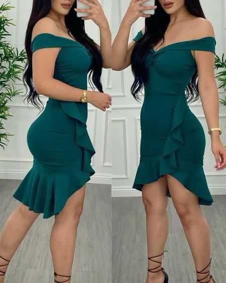 Off Shoulder Ruffle Hem Twist Bodycon Dress