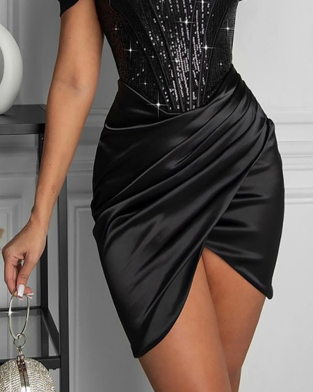 Sequins Patch Ruched Slit Skinny Party Dress