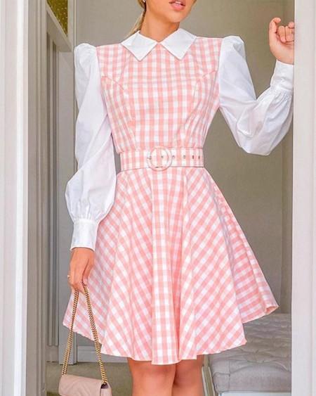 Plaid Print Puff Sleeve Casual Dress