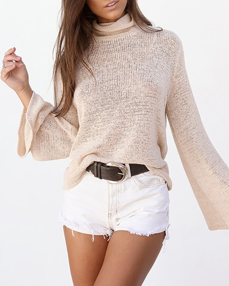 Tied Detail Backless Bell Sleeve Sweater