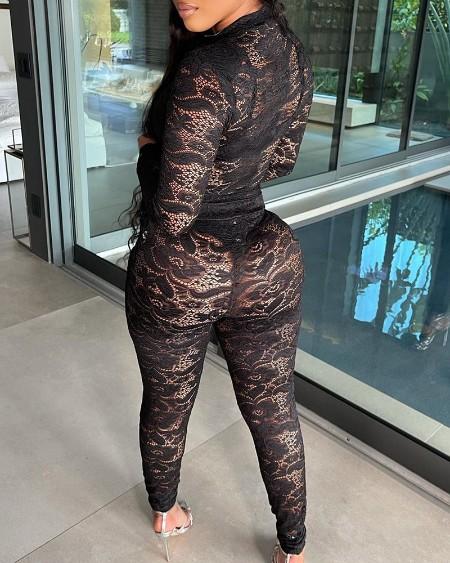 Crochet Lace Long Sleeve Top & Pants Set