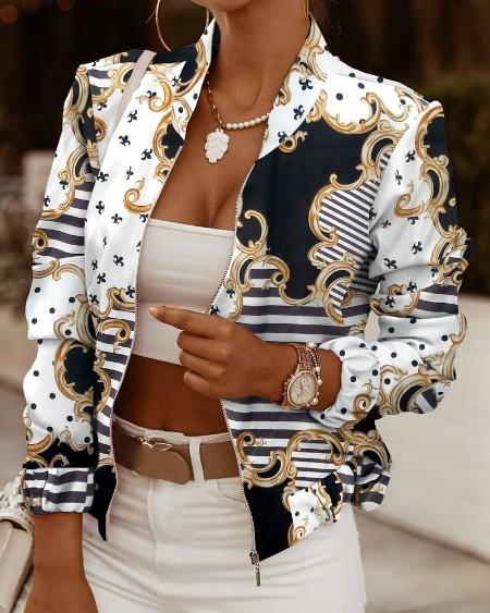 Scarf Print Long Sleeve Zip Up Jacket