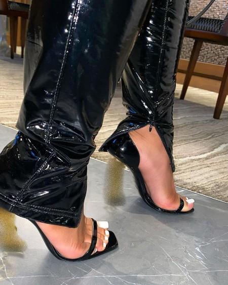Slit High Waist PU Leather Pants