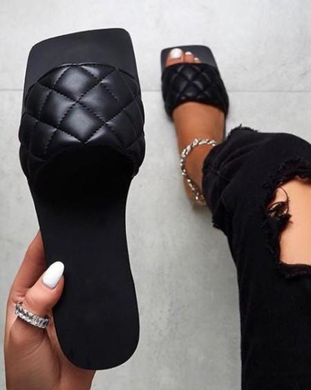 Square Toe Slide Sandals