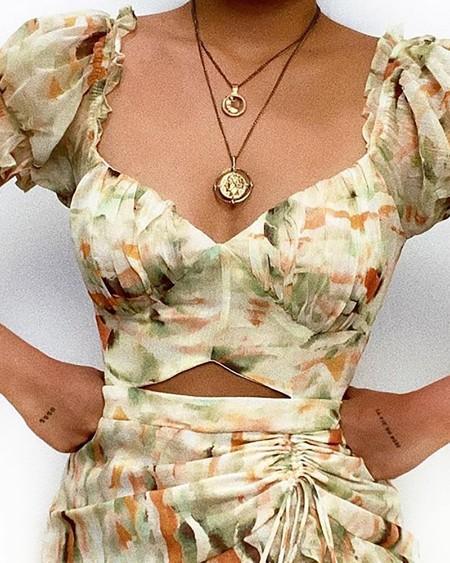 Tie Dye Print Cutout Drawstring Dress