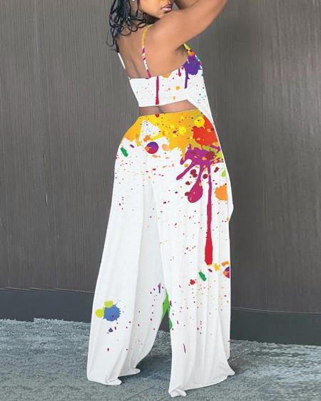 Ink Splash Sling Backless Blouse With Pants Suit Sets