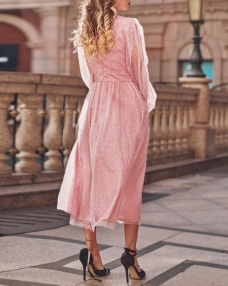 Puff Lantern Sleeve Rhinestone Mesh Prom Dress