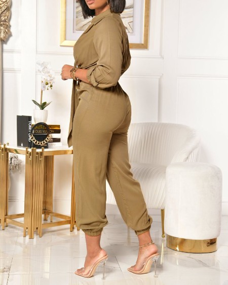 Collared Plunging Neck Tie Front Ruched Jumpsuit