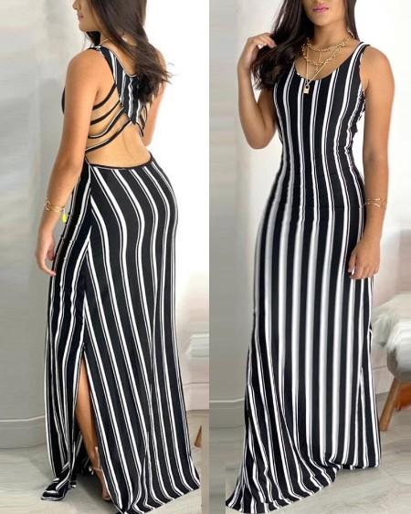 Striped Sleeveless Cut-out Split Dress