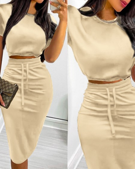 Short Sleeve Crop Top & Split Back Drawstring Skirt Set