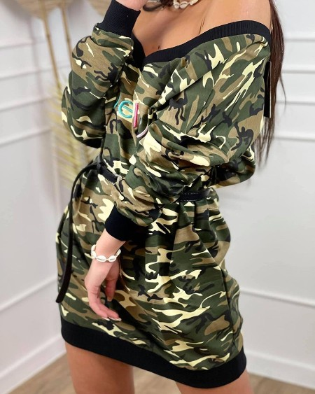 Letter Embroidery Camouflage Print Sweatshirt Dress