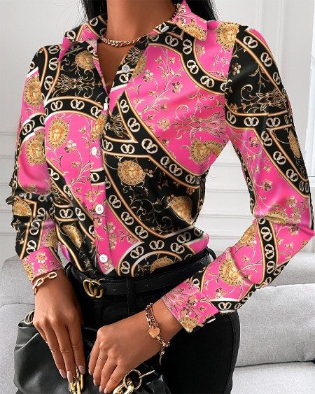 Baroque Print Button Up Long Sleeve Blouse