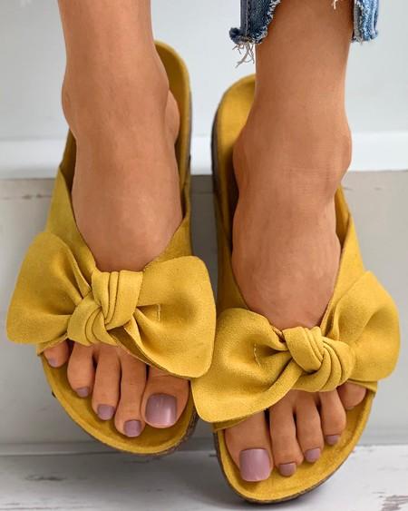 Bowknot Decor Open Toe Flat Sandals