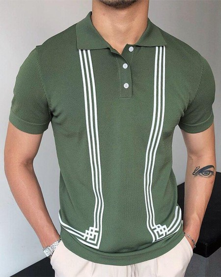 Solid Color Splicing Striped Print Short Sleeve Polo-shirt