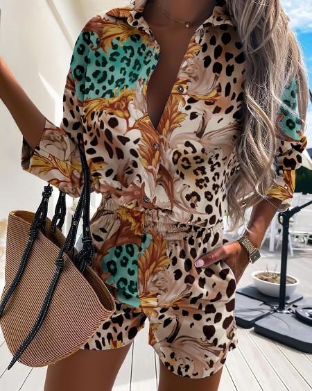 Leopard Print Button Front Casual Shirt & Shorts Set