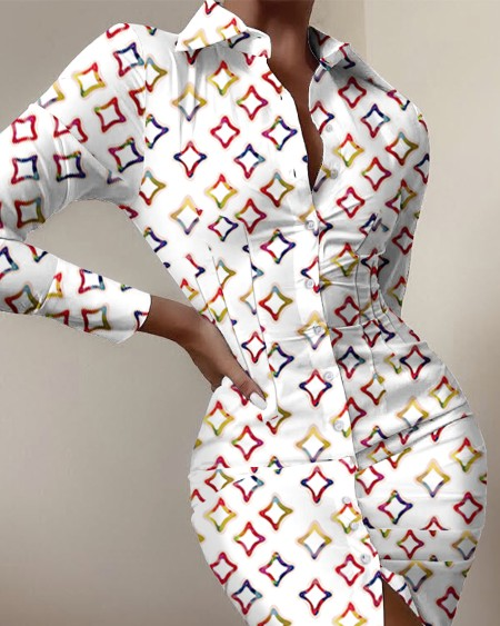 Geometric Print Button Front Shirt Dress