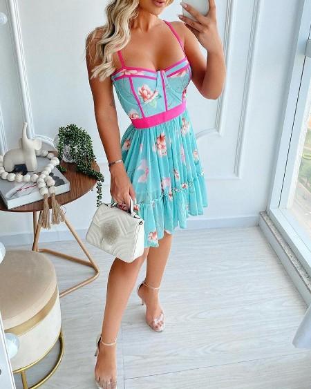 Contrast Binding Spaghetti Strap Floral Print Dress