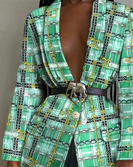 Chain Print Shawl Collar Flap Detail Single Button Blazer