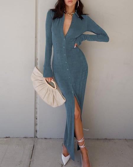 Button Front Bell Sleeve Maxi Shirt Dress
