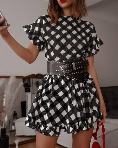 Frill Hem Plaid Print Short Sleeve Casual Dress