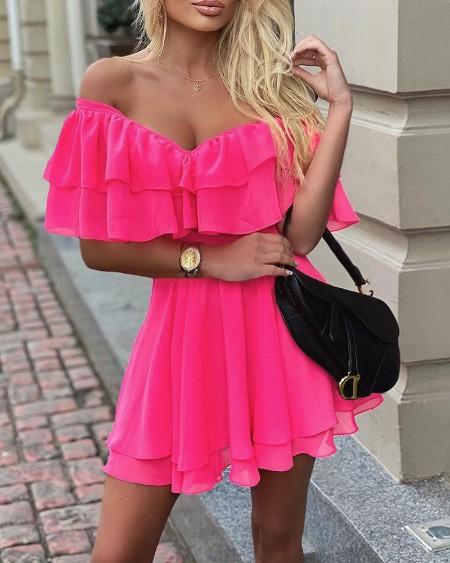 Off Shoulder Ruffle Fit Flare Dress