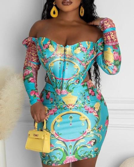 Off Shoulder Floral Print Corset Top & Skirt Set