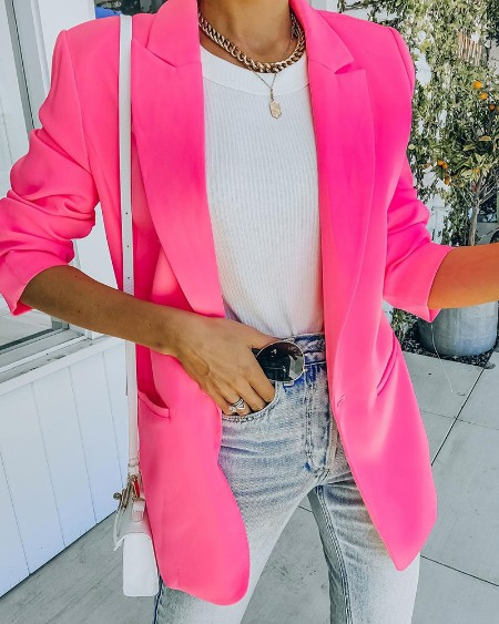 Long Sleeve Blazer Coat & High Waist Shorts Set