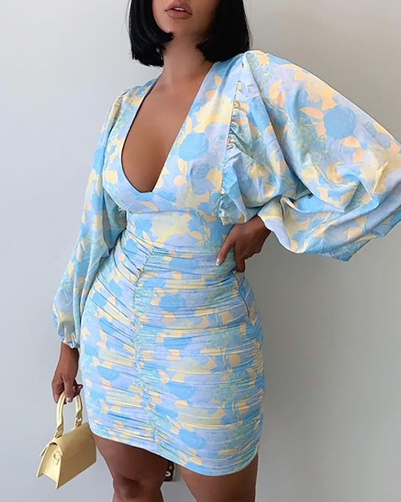 Floral Pattern Print Lantern Sleeve Ruched Bodycon Dress