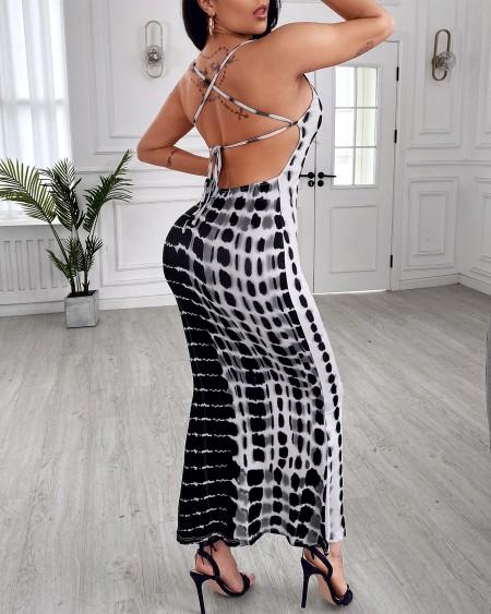 Plunge Tie Dye Print Crisscross Backless Maxi Dress