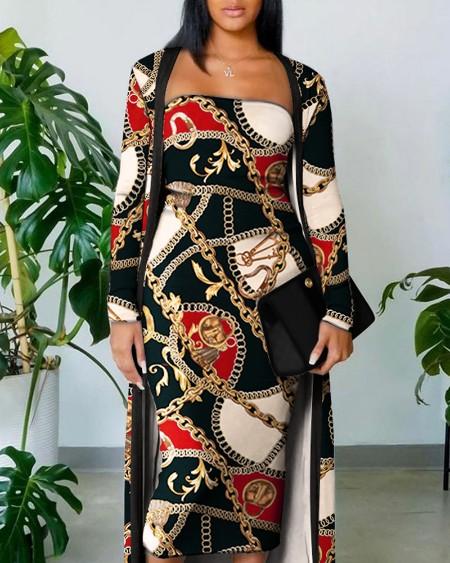 Chain Scarf Print Tube Bodycon Dress With Longline Coat