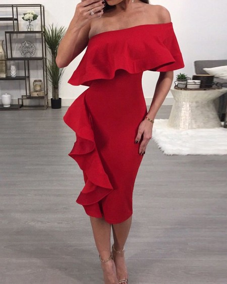 One Shoulder Ruffles Party Dress