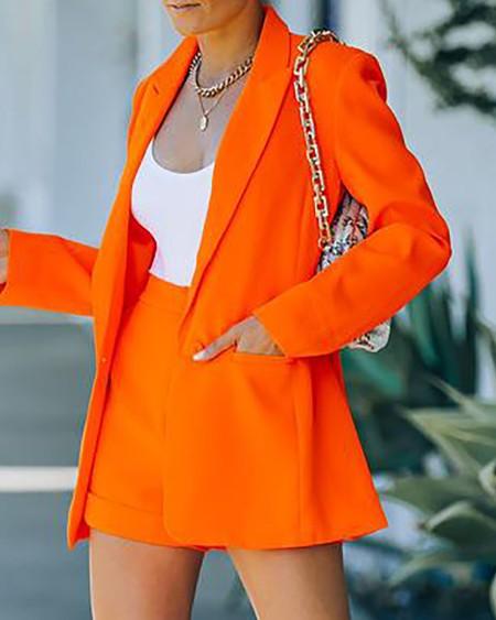 Plain Long Sleeve Blazer Coat & Shorts Set
