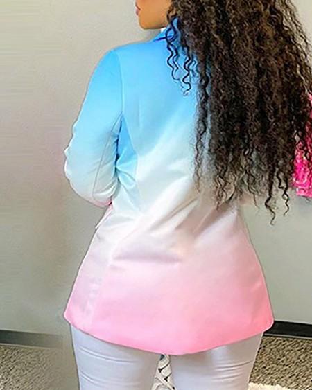 Ombre Colorblock Button Pocket Design Blazer Coat